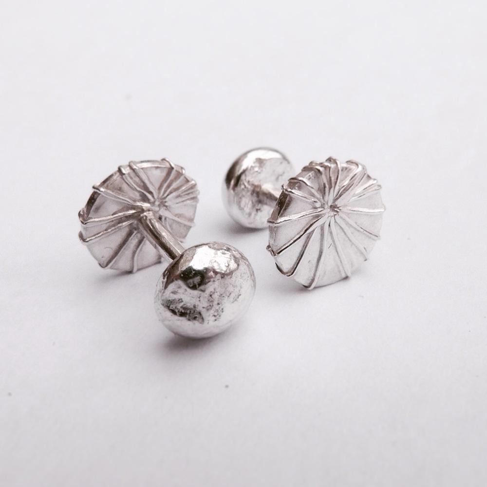 Sterling Silver, Mushroom Coral Cufflinks