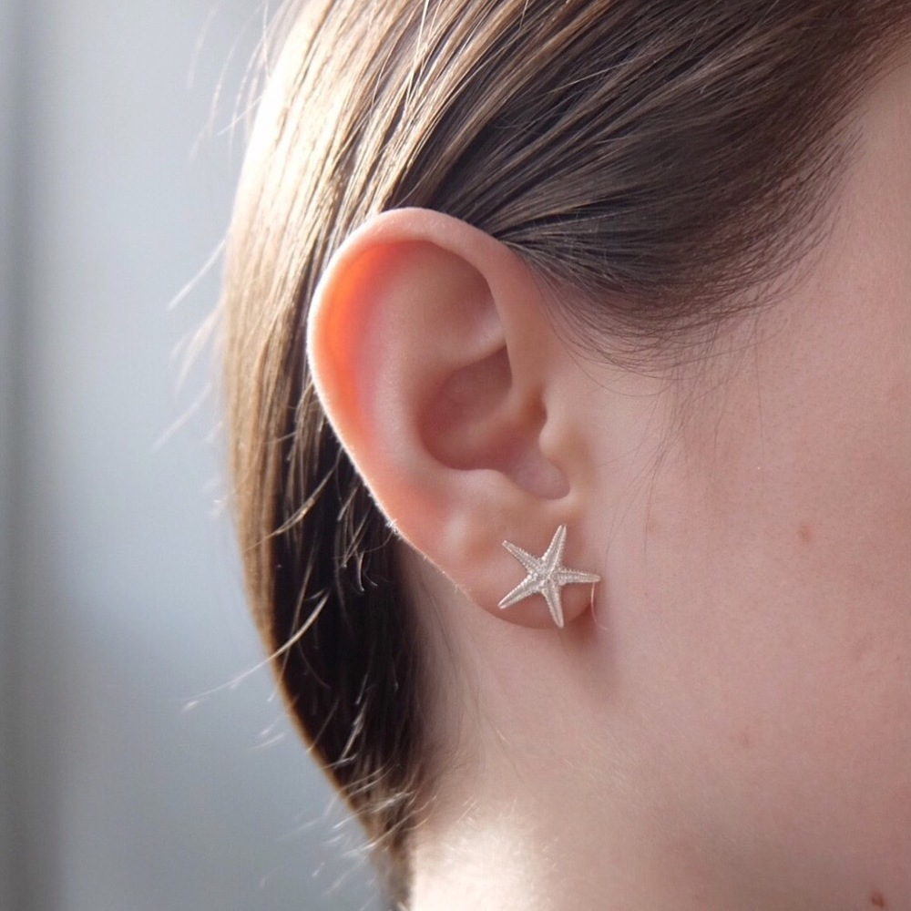 Sterling Silver Starfish Studs