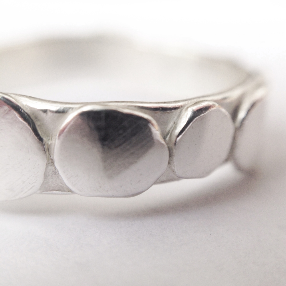 Sterling Silver Pebble Ring Close Up