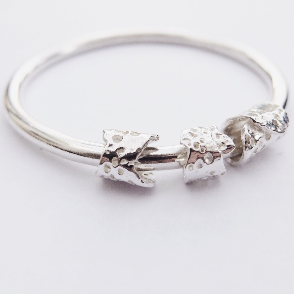Sterling Silver Heavy Sponge Charm Bangle