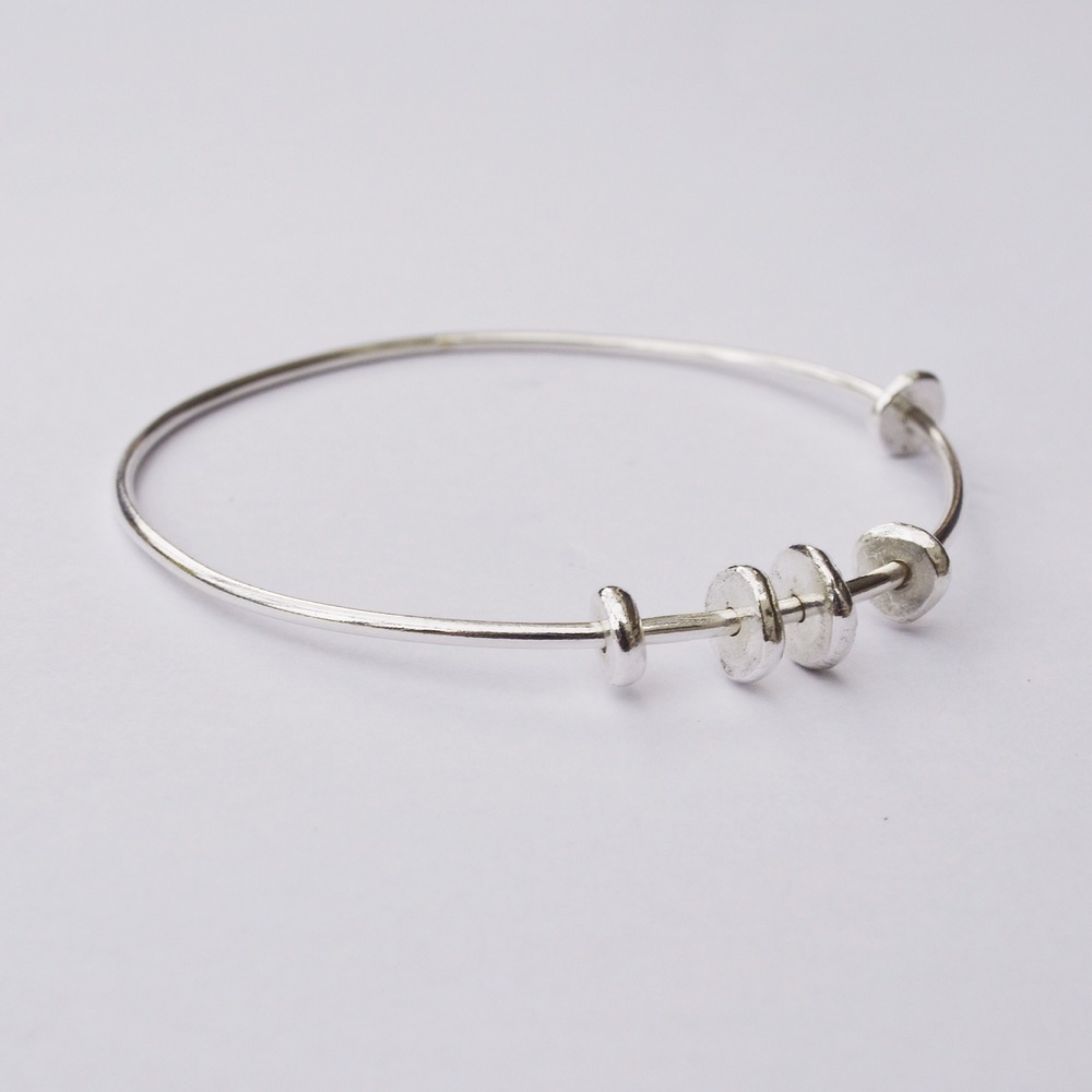 Sterling Silver Pebble Charm Bangle