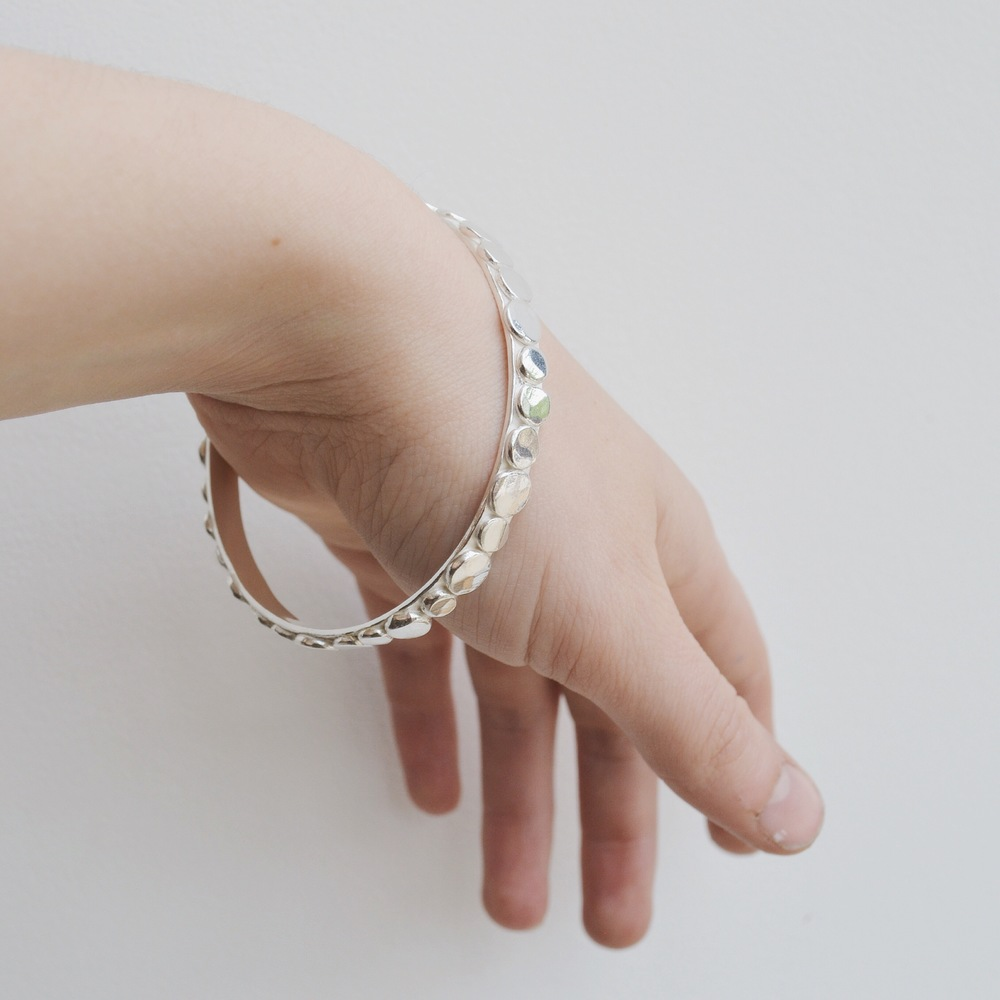Chunky Silver Pebble Bangle
