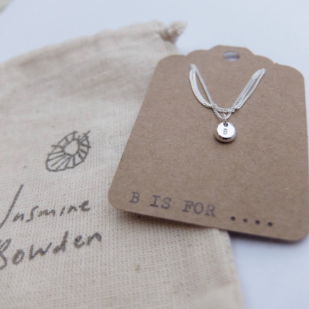 Silver Initial Necklace with Gift Bag