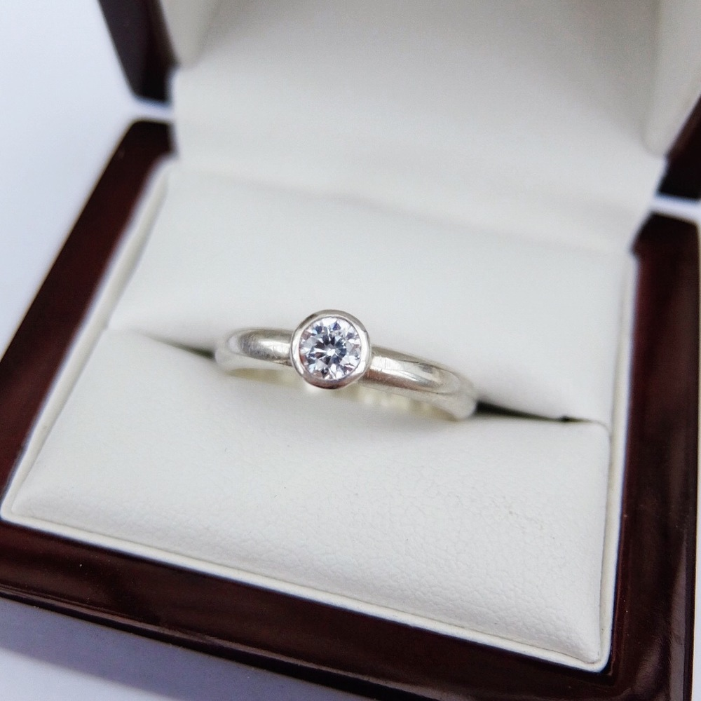 Silver and CZ Engagement Style Ring