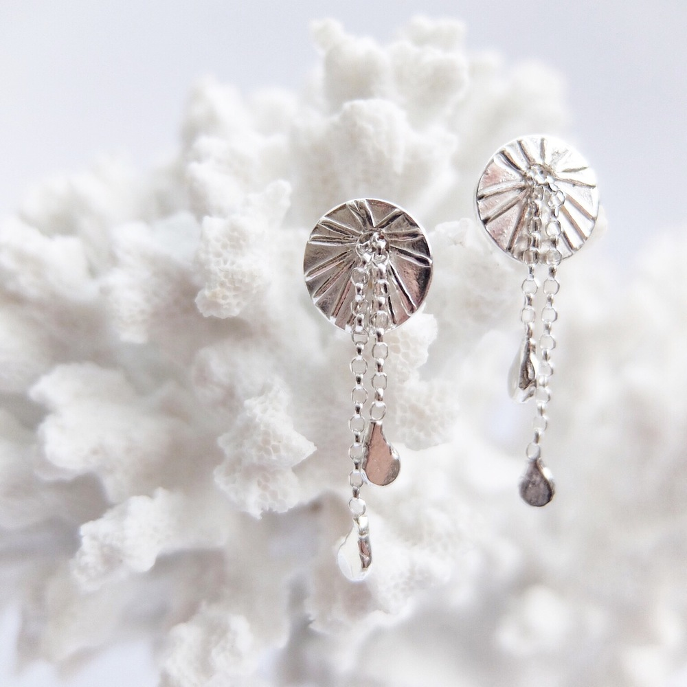 Silver Coral Drop Earrings