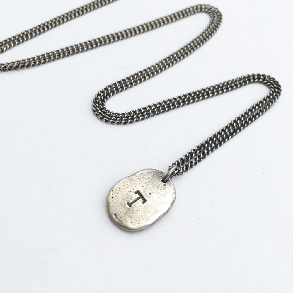 mens jewellery uk handmade unisex oxidised sterling silver long curb chain pendant letter initial jasmine bowden devon exeter jeweller.jpg