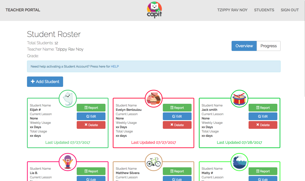 Teacher Portal - Manage your students progress.