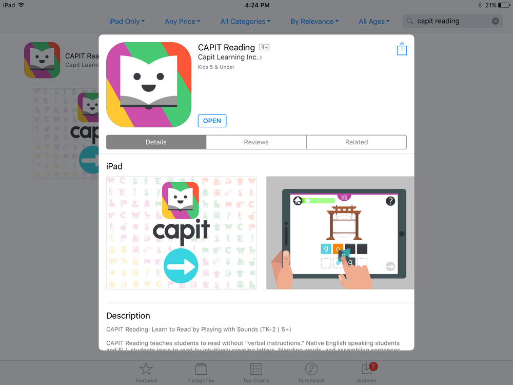 Download CAPIT Reading from the App Store on your iPad. - Download the latest version of CAPIT Reading Version 1.0.15. Please do NOT download the CAPIT Books app.