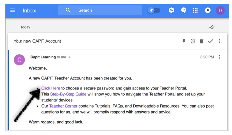 Click on the link in your email to create your password -