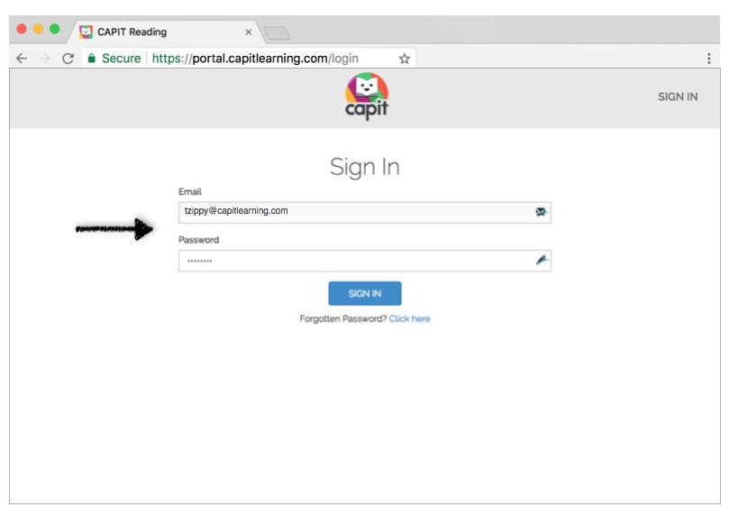Enter your password to sign into the Teacher Portal -