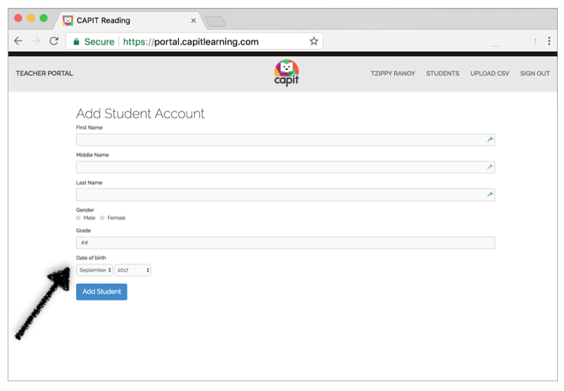 Enter DOB and click Add Student -