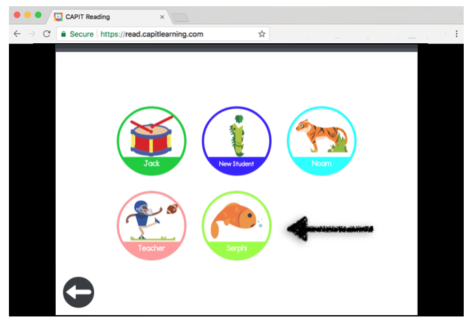Students select their User Profile and begin using CAPIT -