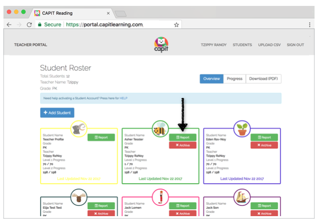 Click on Report for a deeper view of each student -