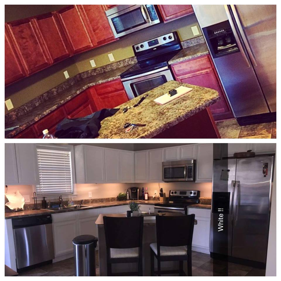 our diy kitchen transformation from really red to peacefully