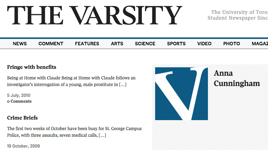 The Varsity Newspaper Articles
