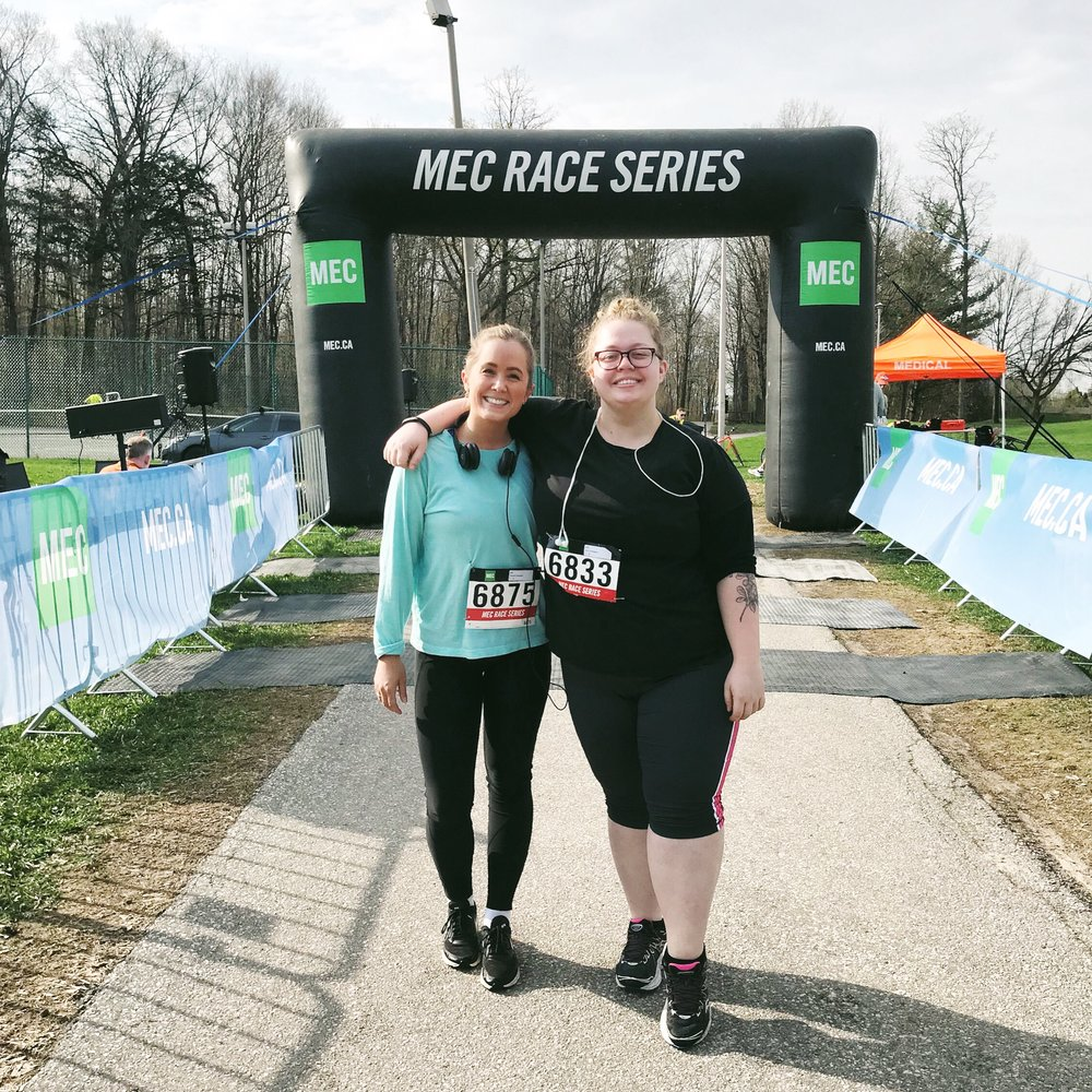 May's finish line with my bud and partner in all things fitness, Charlotte