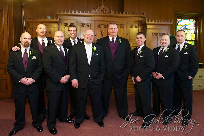 Eric and his groomsmen at Holy Family Church, Rockland.