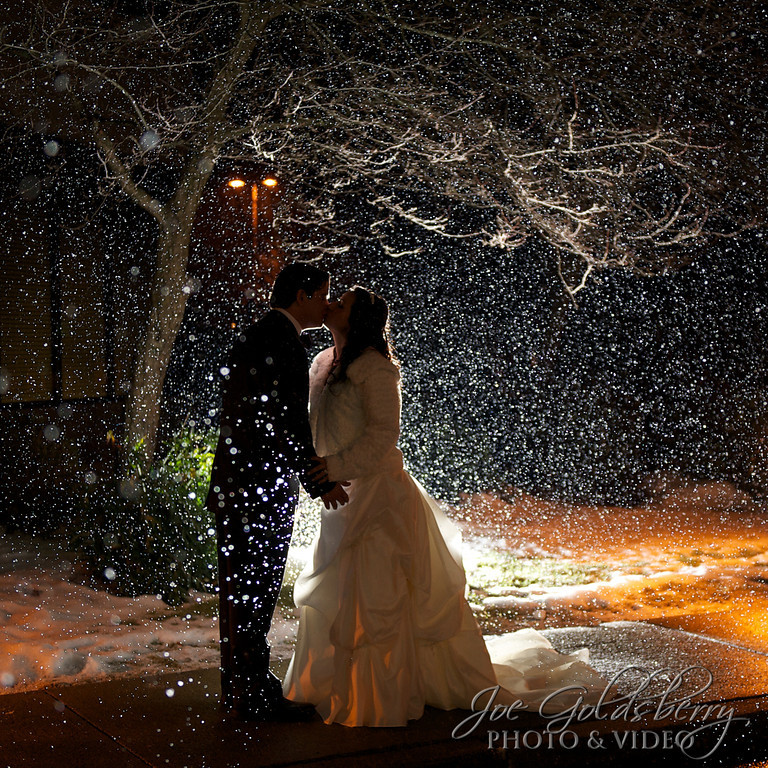 Bethany & Chris outside of the Holiday Inn, Rockland, with the snow making the most amazing background and foreground.