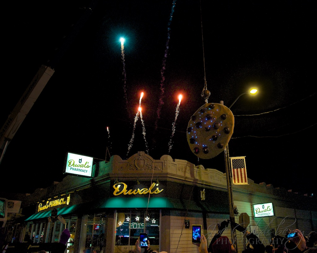 The roof of Duval's Pharmacy sets the stage for the pyrotechnics when the clock strikes midnight.