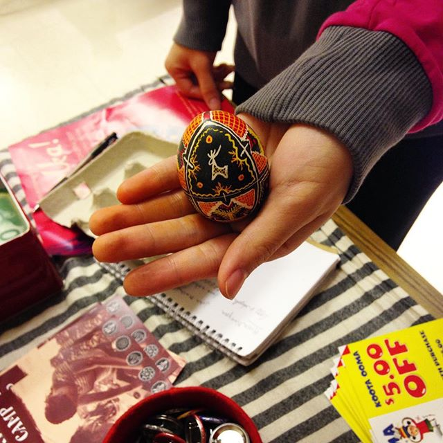 Are you as impressed as we were with her first ever #pysanka?! We've got more workshops all month - check our website for more info! #torontocraft #torontoworkshops #craftworkshop #ukrainianeggs #pysanky