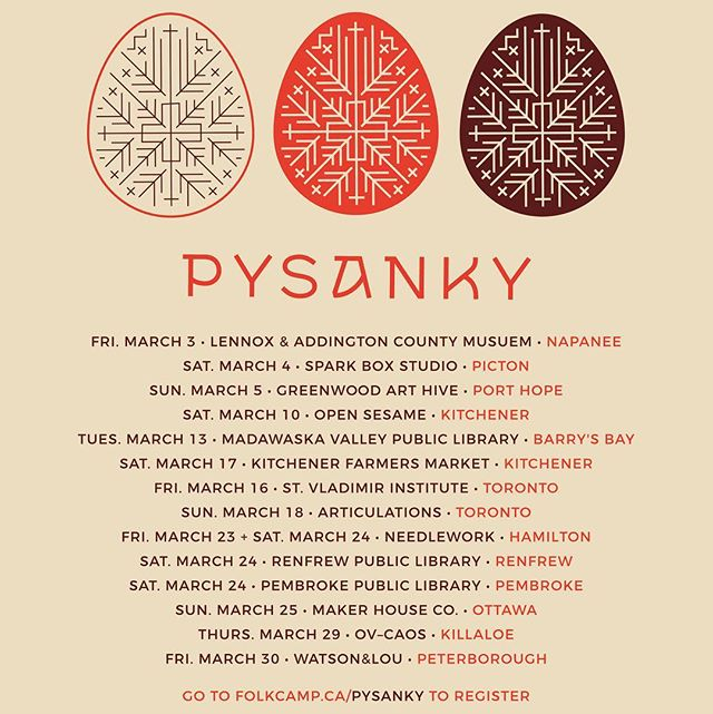 We are on the road tomorrow to start our Pysanka tour! Happy pysanka-making! . . #folkcamp #pysanky #pysanka #Ukrainian #tradition #ritual #workshop #easter #eastereggs #folkart #ontario