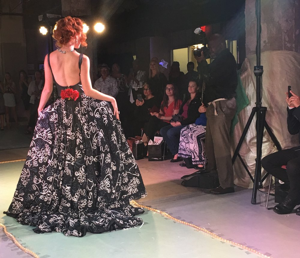 Runway model, Joanna Wentling, modeling gown by designer Brian David (Instagram, Facebook). Fun Fact: Brian and I have been in contact since the show and we are in the process of planning a collaboration! More details coming soon.