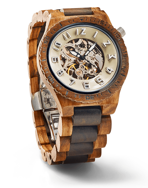 Image Provided by  JORD , watch pictured:  Dover Series, Zebrawood & Dark Sandalwood