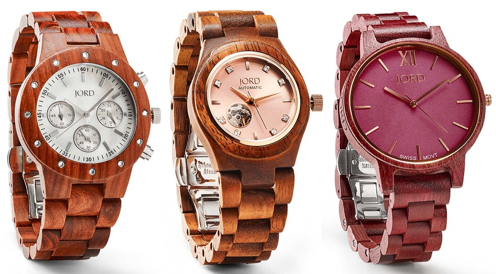 Images provided by  JORD  ,  watches pictured:  Sidney Series in Sandalwood & Mother of Pearl ,  Cora Series in Koa & Rose Gold , and  Frankie Series in Purpleheart & Plum