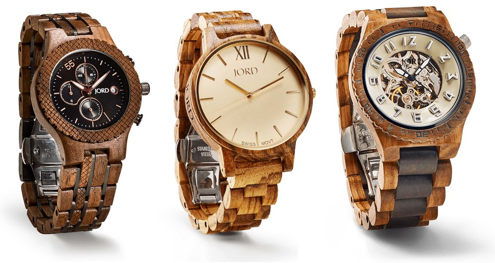 Images provided by  JORD  ,  watches pictured:  Conway Series in Walnut & Jet Black ,  Frankie Series in Zebrawood & Champagne , and  Dover Series in Zebrawood & Dark Sandalwood