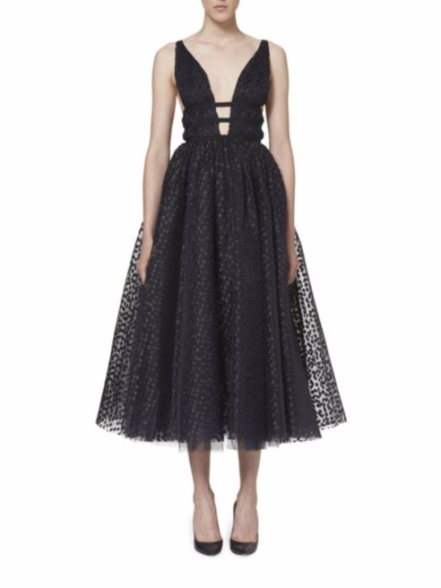 Carolina Herrera, Metallic Dot Cocktail Dress