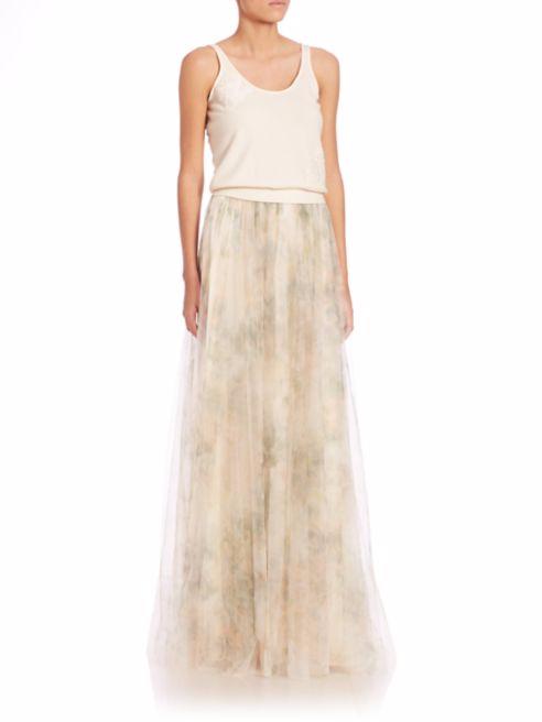 Jenny Yoo, Arabella Printed Tulle Maxi Skirt