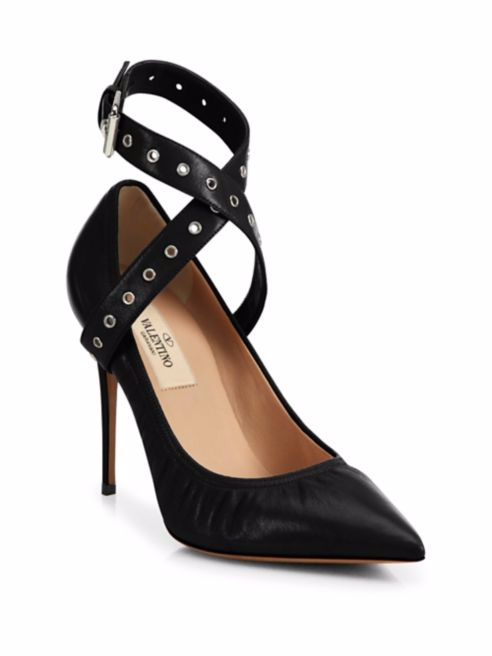 Valentino, Love Latch Grommeted Leather Ankle-Wrap Pumps