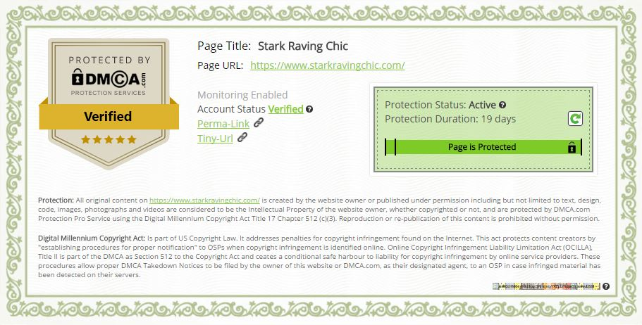 My website's  DMCA Certificate