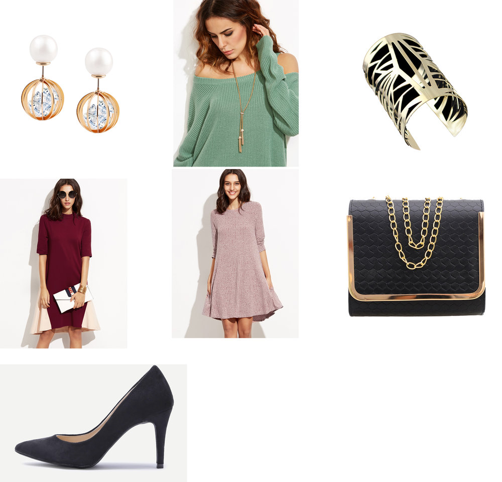 Outfit Links: Earrings, Necklace, Cuff, Dress, Alternative Dress, Purse, Shoes