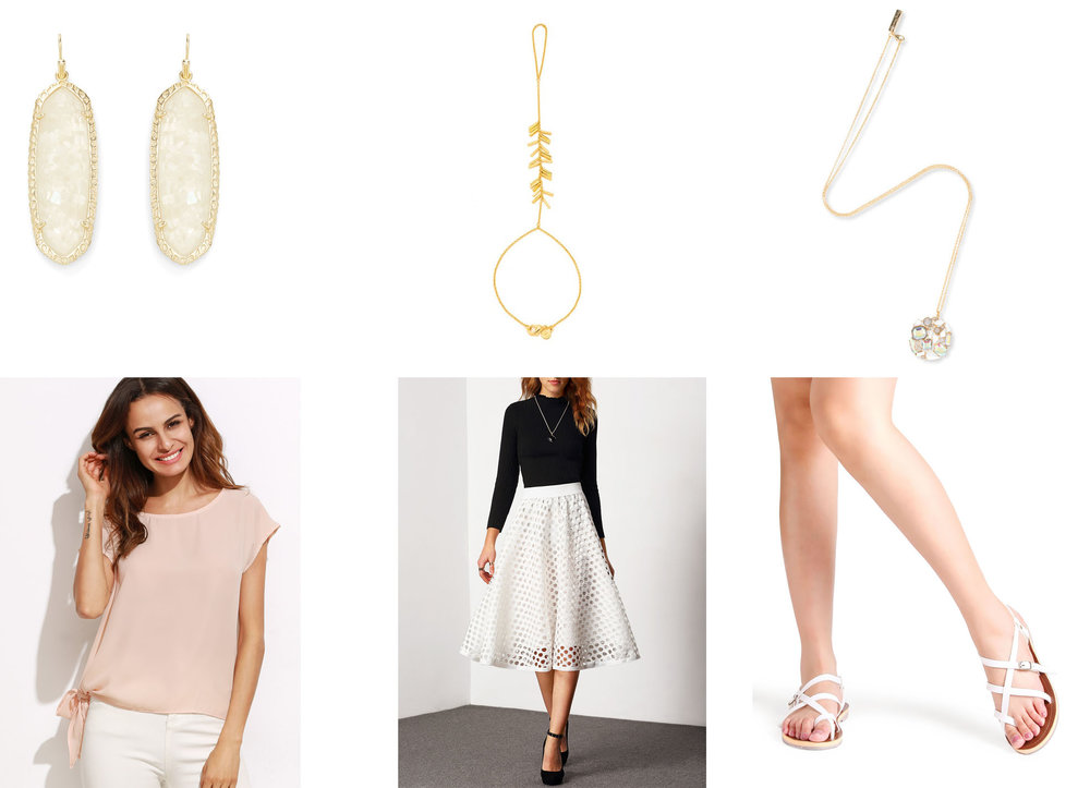 Outfit Links: Earrings, Hand Chain, Necklace, Top, Skirt, Shoes
