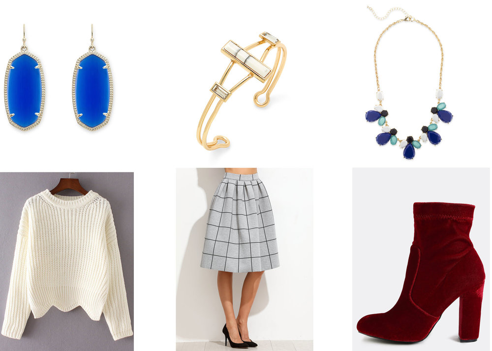 Outfit Links: Earrings, Bracelet, Necklace, Sweater, Skirt, Shoes