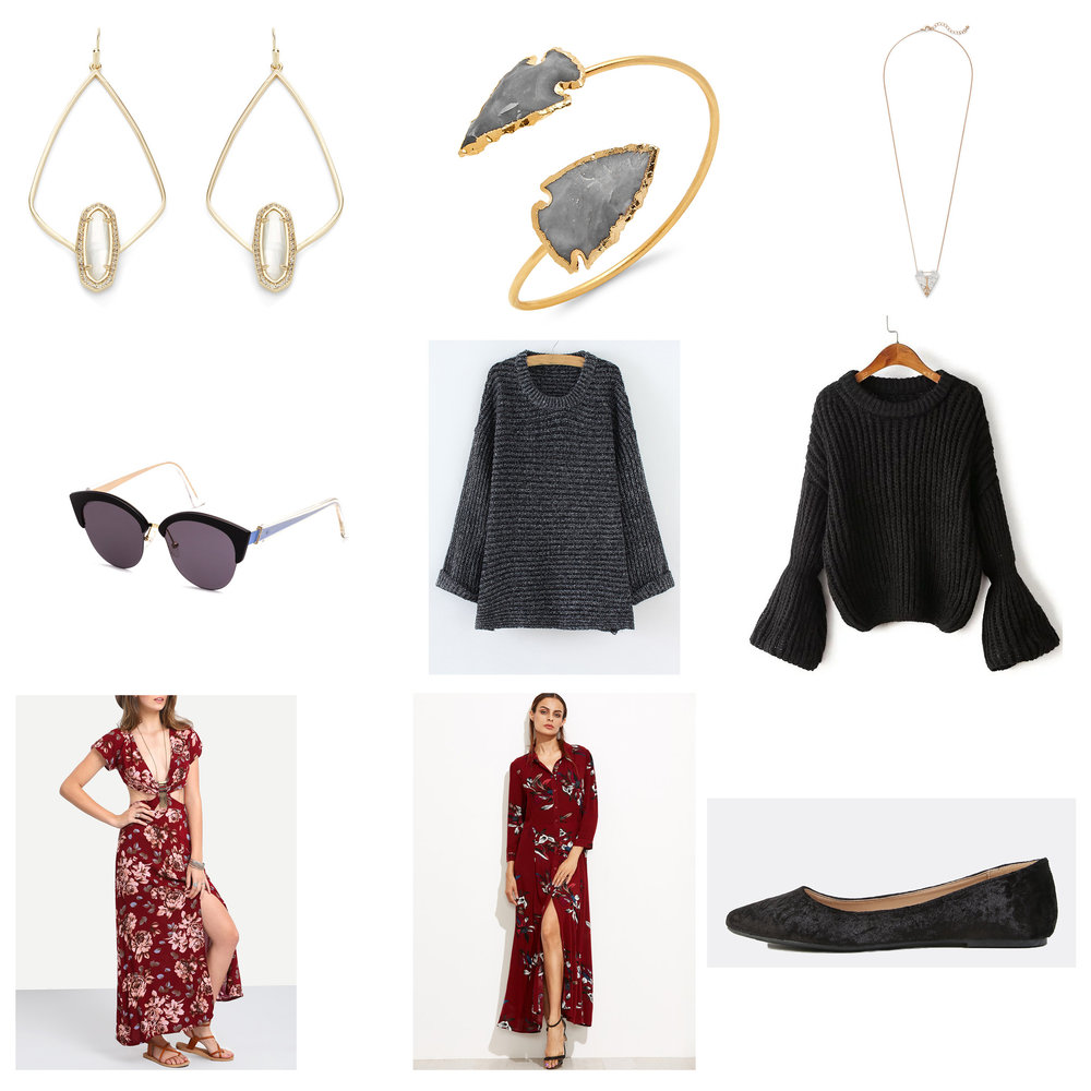 Outfit Links: Earrings, Cuff, Necklace, Sunglasses, Sweater, Alternative Sweater, Dress, Alternative Dress, Shoes