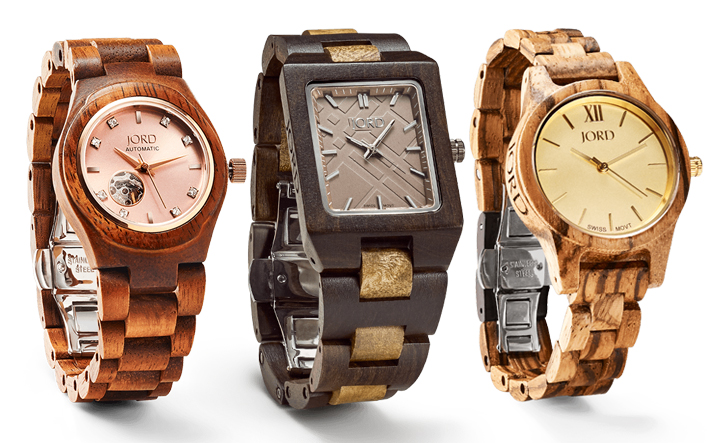Photos compliments of  JORD ,  Cora Koa & Rose Gold ,  Reece Golden Camphor & Khaki ,  Frankie 35 Zebrawood & Champange