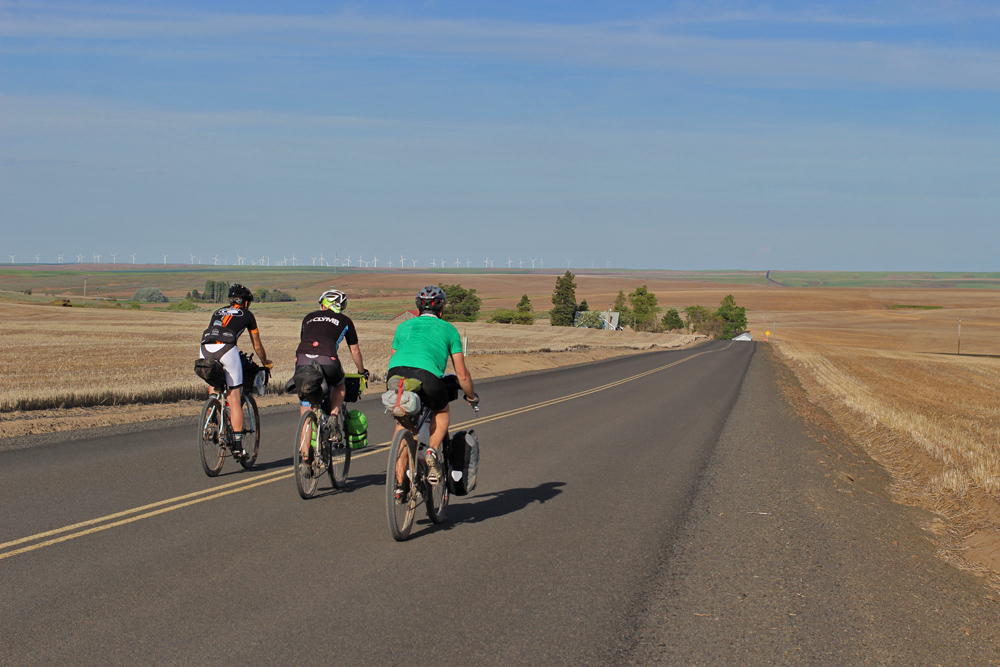 Riders on the Outback (and the Stampede too) receive the blessing of a 1-mile paved descent near Moro Oregon before heading back into the wind (and uphill).