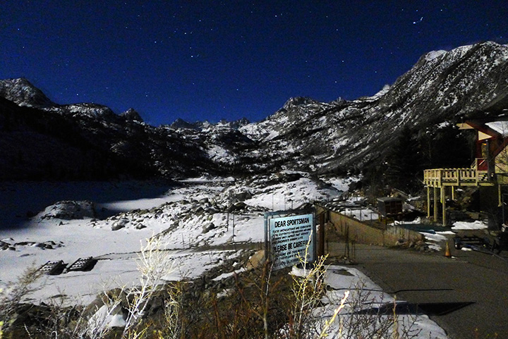 Lake Sabrina at night.