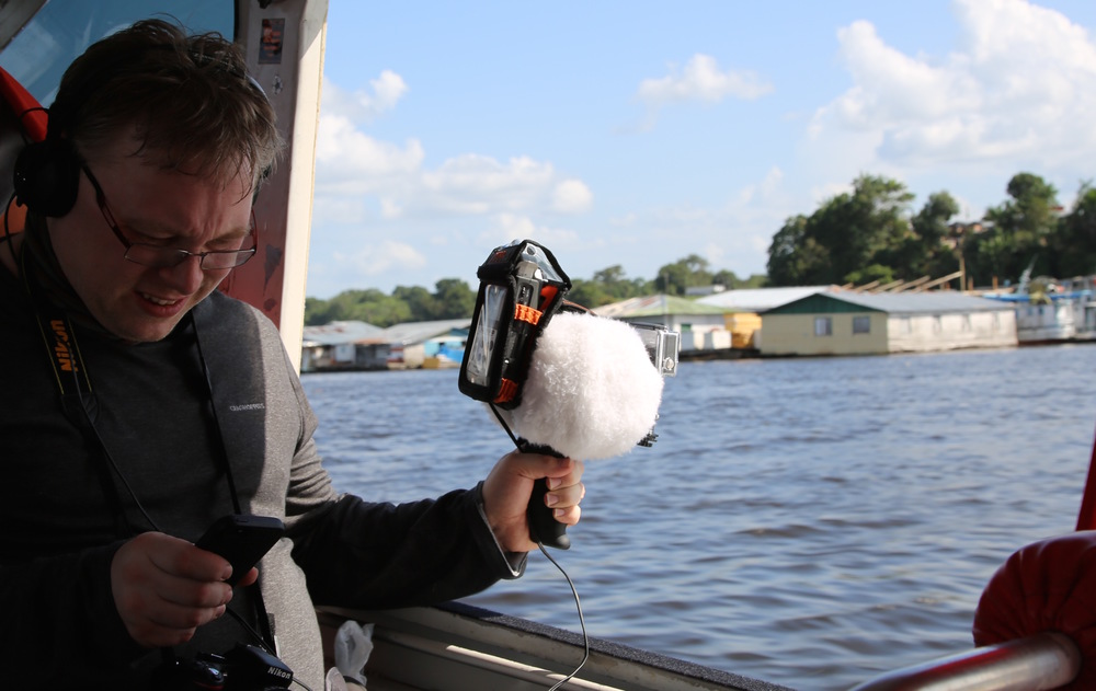 Recording on location on the Amazon River, Brazil, with the 3dio microphone (with wind covers), Zoom and GoPro. An iPhone can act as a wireless viewfinder for the GoPro