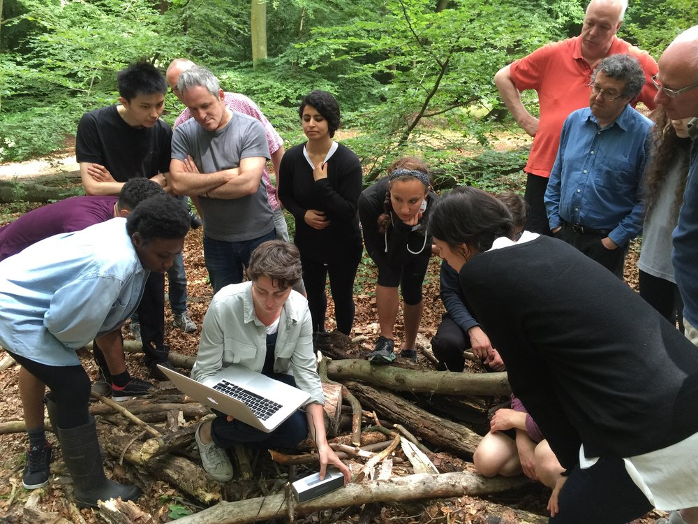 Recording in Epping Forest (with laptop, assistant director Jemima James)