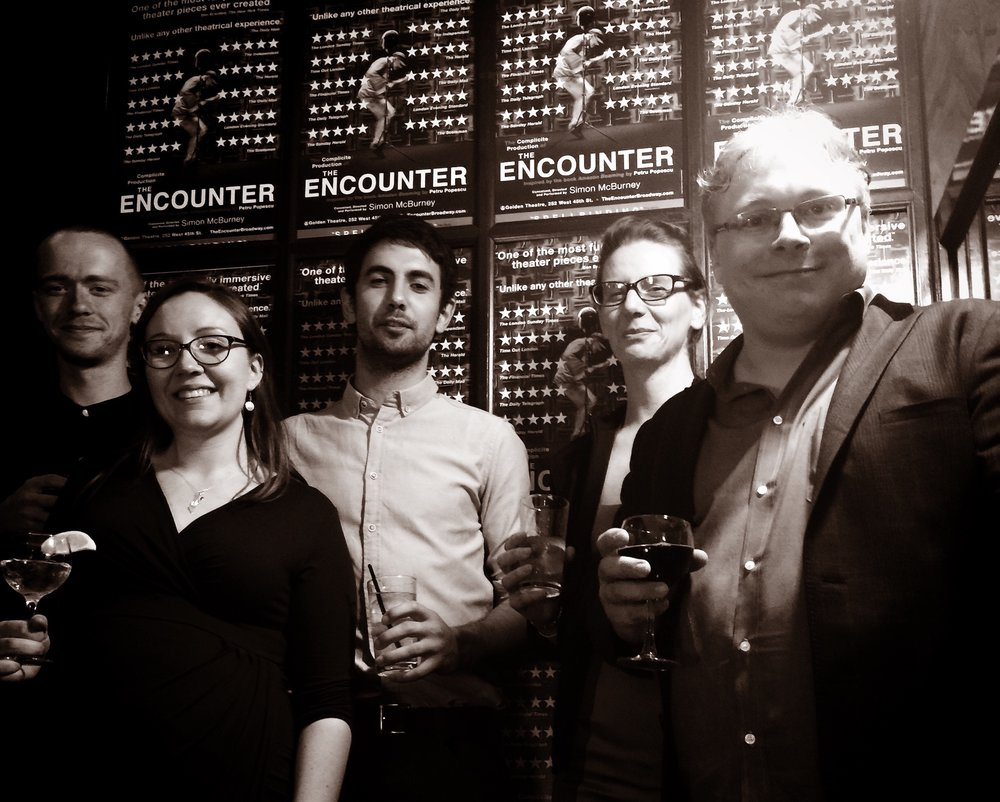 The Encounter press night - Sound operators Ben Grant, Ella Wahlstrom, Amir Sherhan, Helen Skiera, with Gareth Fry