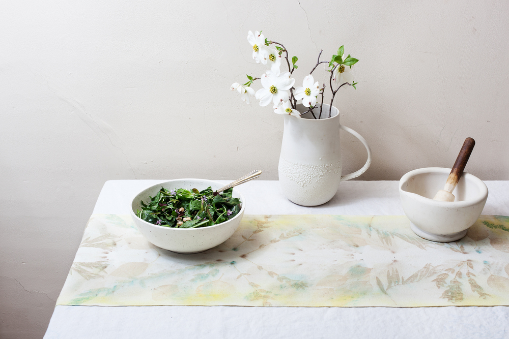 Eco-printed raw silk table runner in the shop.