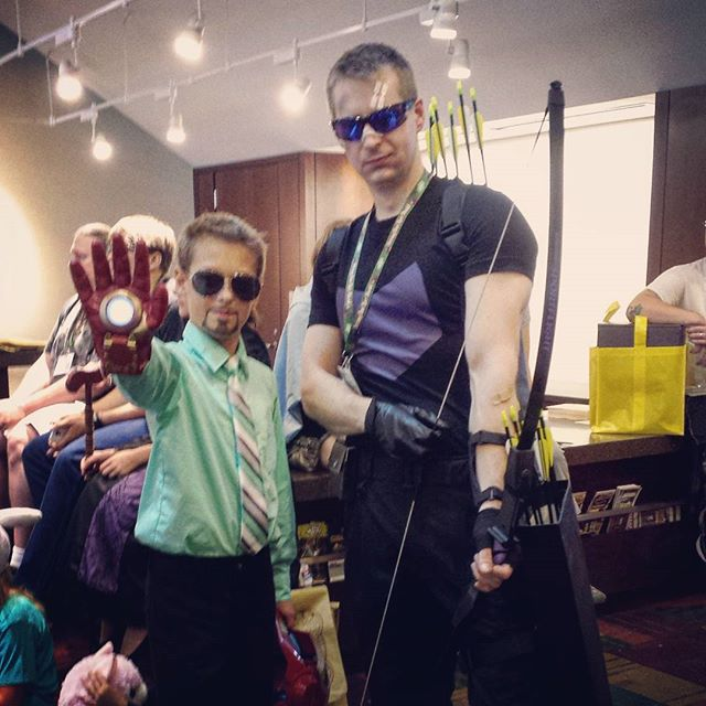 Don AKA Clint Barton AKA #Hawkeye AKA Hawkguy posing at #gencon with #ironman. Avengers assemble!