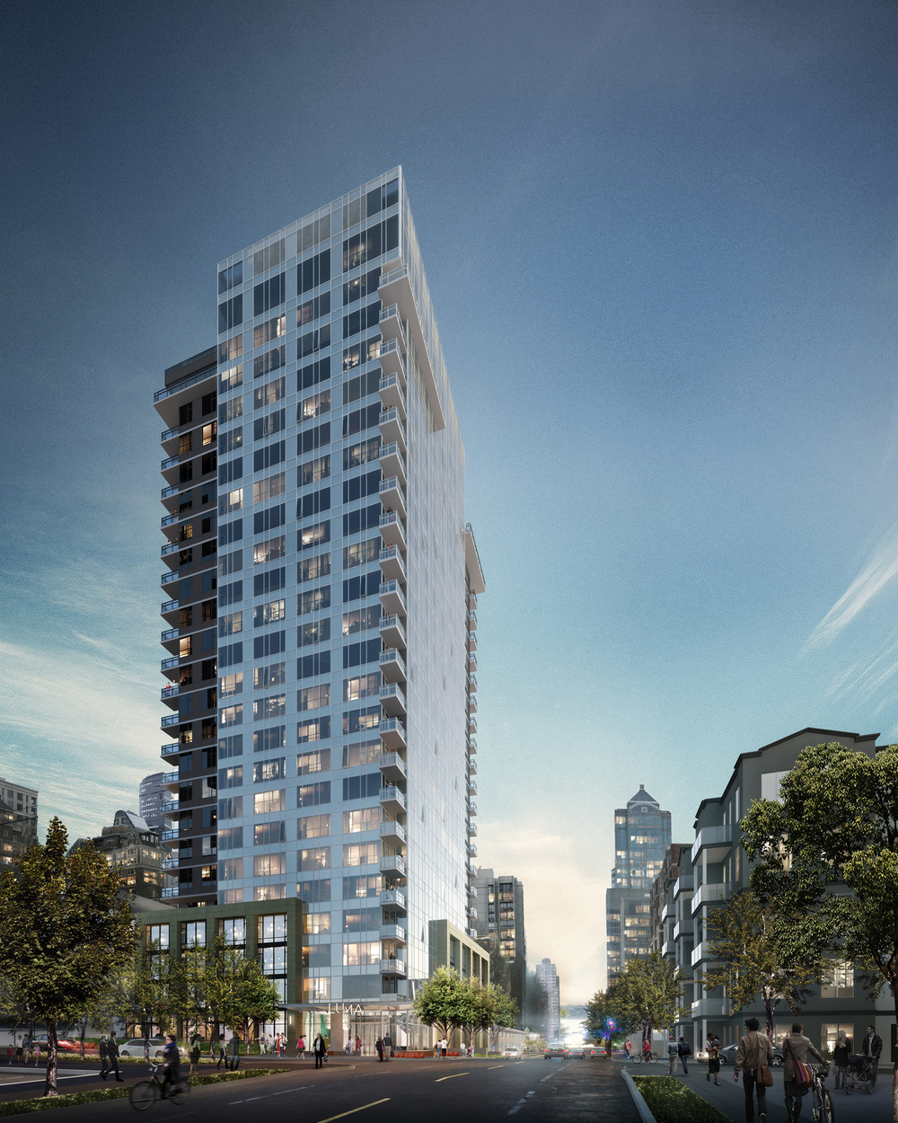 Luma Condominium tower rises above the Capitol Hill neighborhood in Seattle | Virtual Rendering by Studio 216
