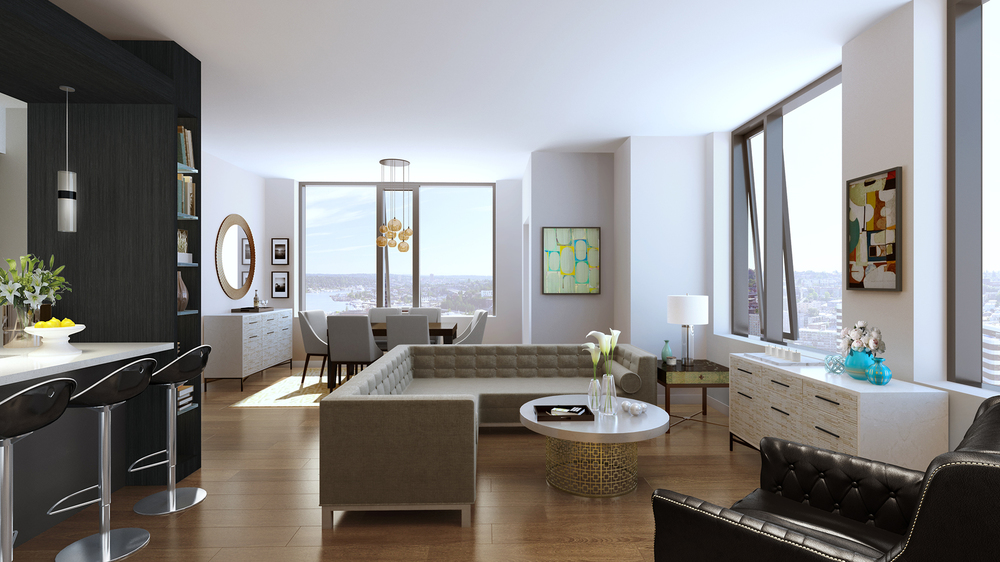 Luma Condominium's beautiful floor plans tower above the Seattle skyline showcaseing amazing city views | Virtual Rendering by Studio 216