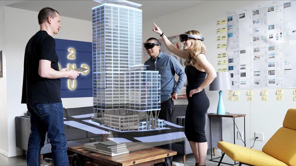 Studio 216 staff test Skanska's 2+U Holographic experience using multiple Microsoft HoloLens