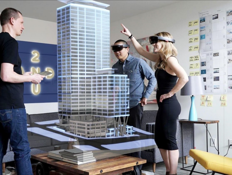 Studio 216 collaborate on the Skanska's 2+U Tower in Downtown Seattle using multiple HoloLens'.