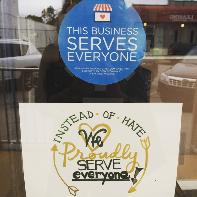 I feel it's sad we actually have to post this in windows of public establishments in 2015, but Indy is taking the lead with a positive message of non-discrimination.